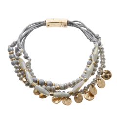 Antique matt gold magnetic clasp Bracelet with grey and silver beads - Jolie