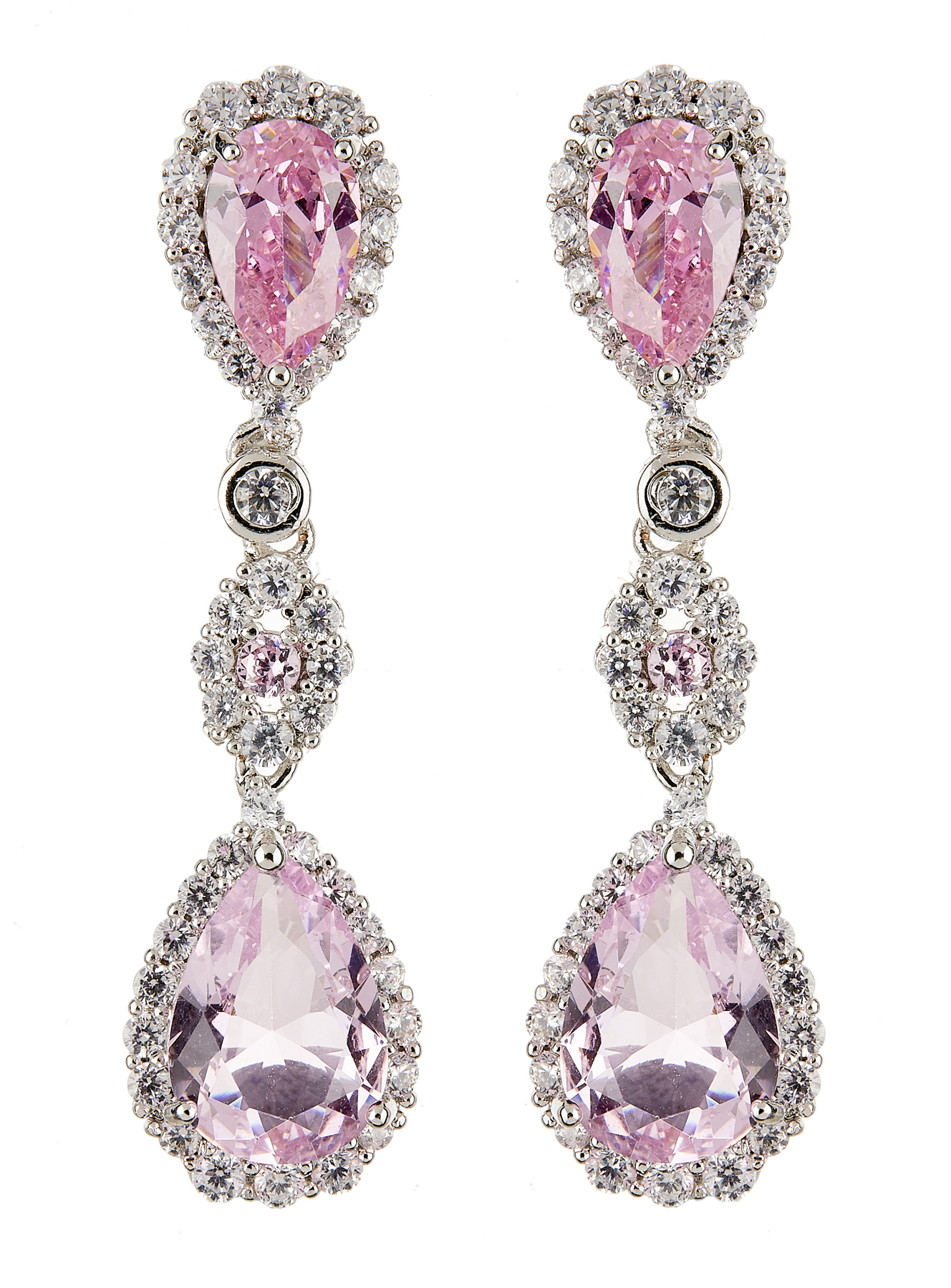 Clip On Earrings - Nata - silver dangle earring with cubic zirconia crystals and pink stones