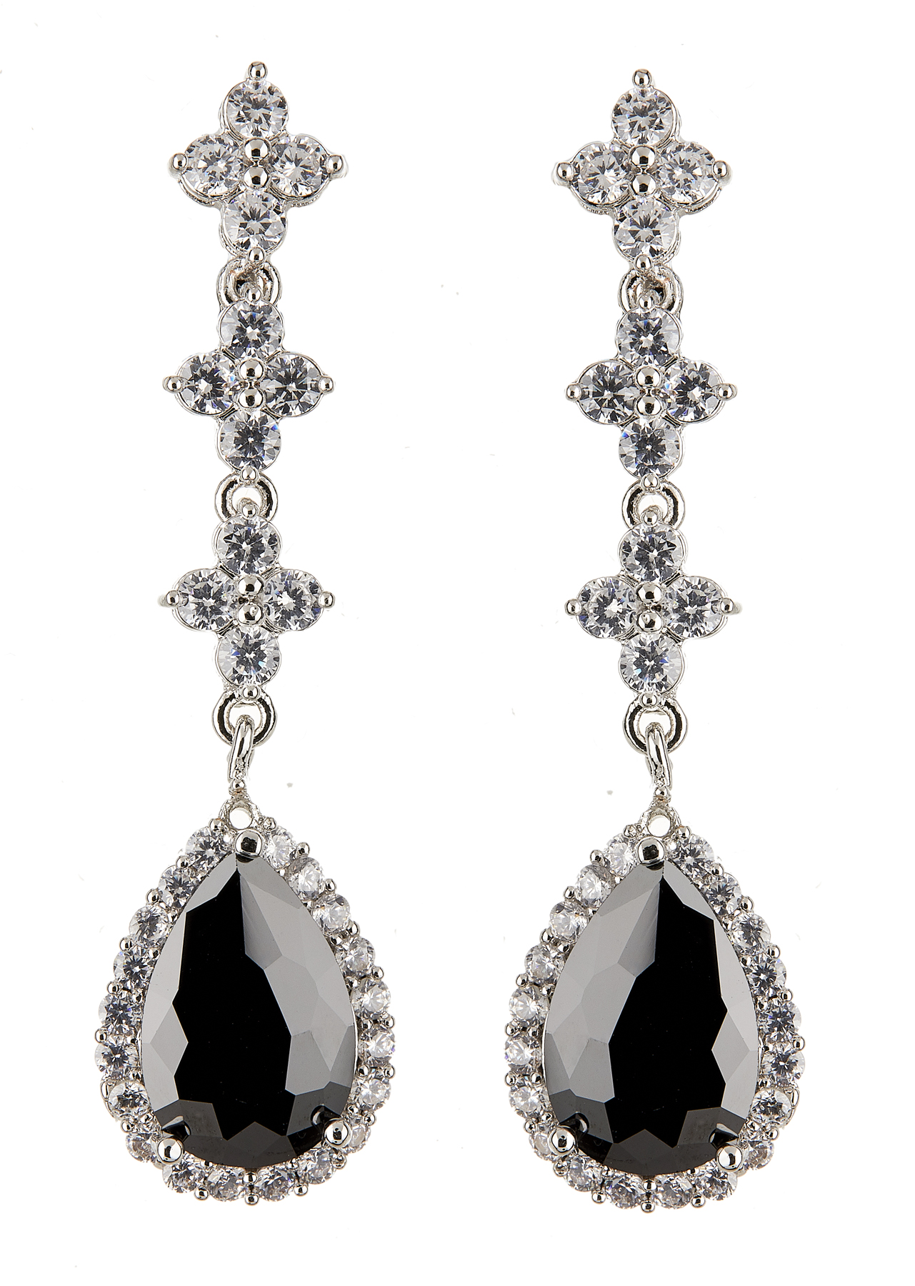 Clip On Earrings - Najam - silver dangle earring with a black cubic zirconia stone and clear crystals