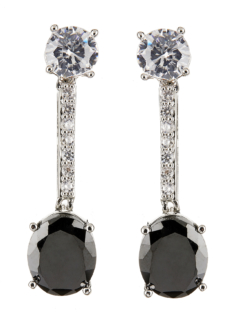 Clip On Earrings - Nadda - silver dangle earring with a black cubic zirconia stone and clear crystals
