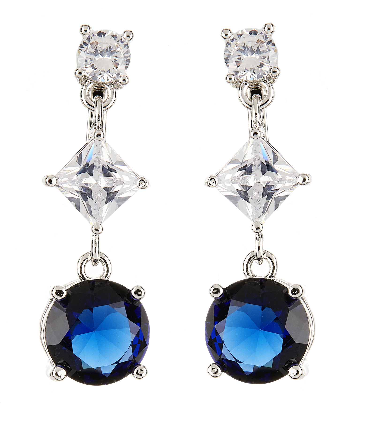 Clip On Earrings - Namita - silver dangle earring with a blue and two clear cubic zirconia stones