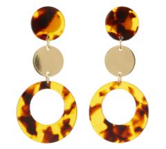 Clip On Earrings - Edris B - gold drop earring with brown tortoise shell acrylic
