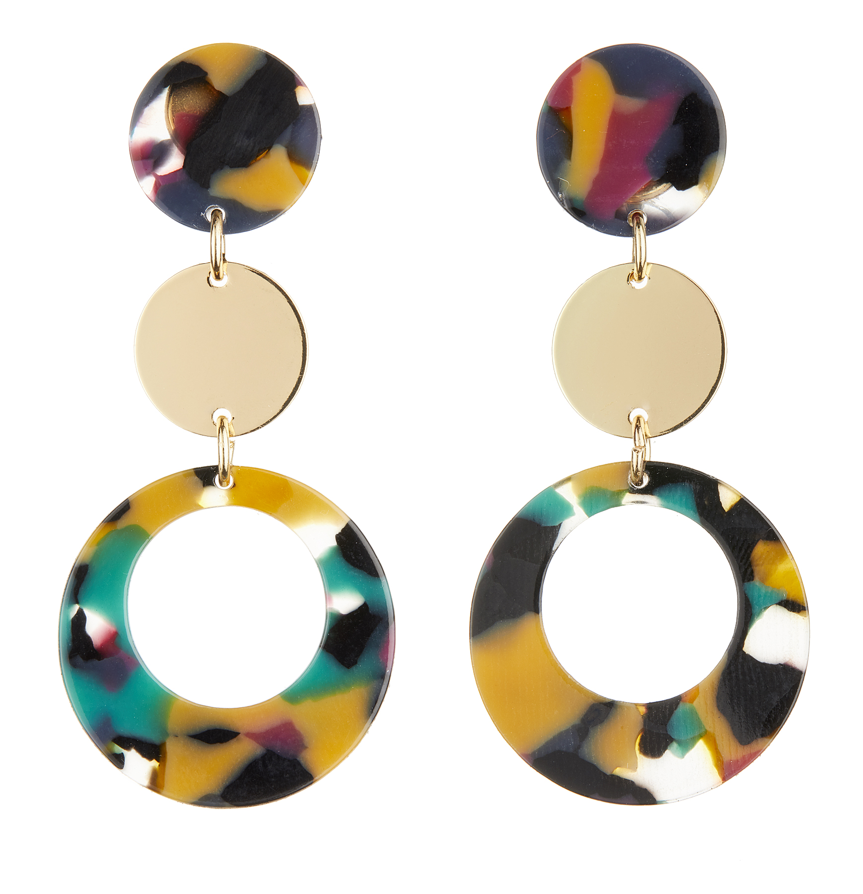Clip On Earrings - Edris M - gold drop earring with multi coloured acrylic