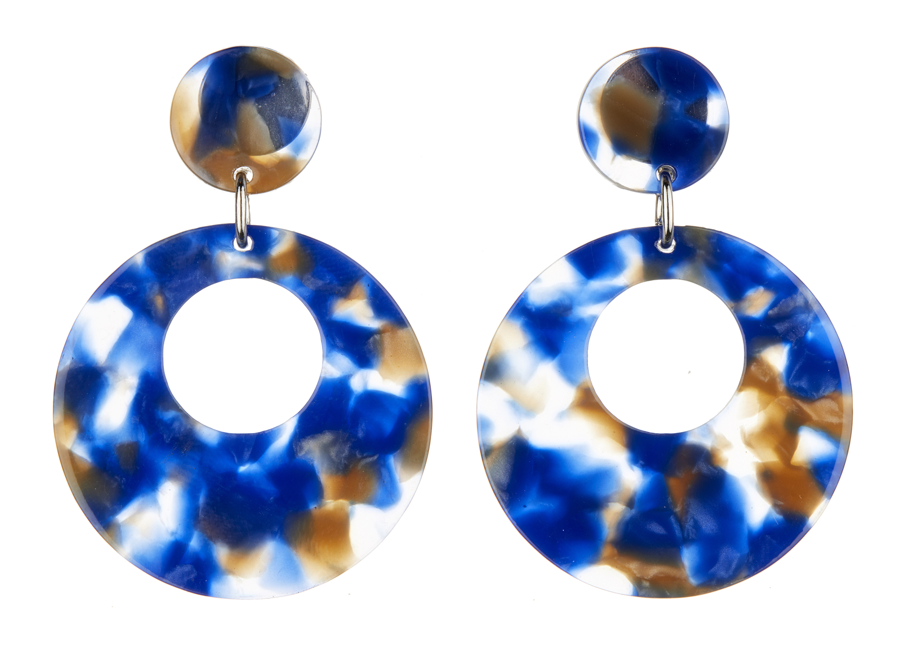 Clip On Earrings - Elica BL - silver drop earring with blue acrylic