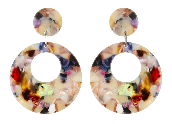 Clip On Earrings - Elica M - silver drop earring with multi coloured acrylic