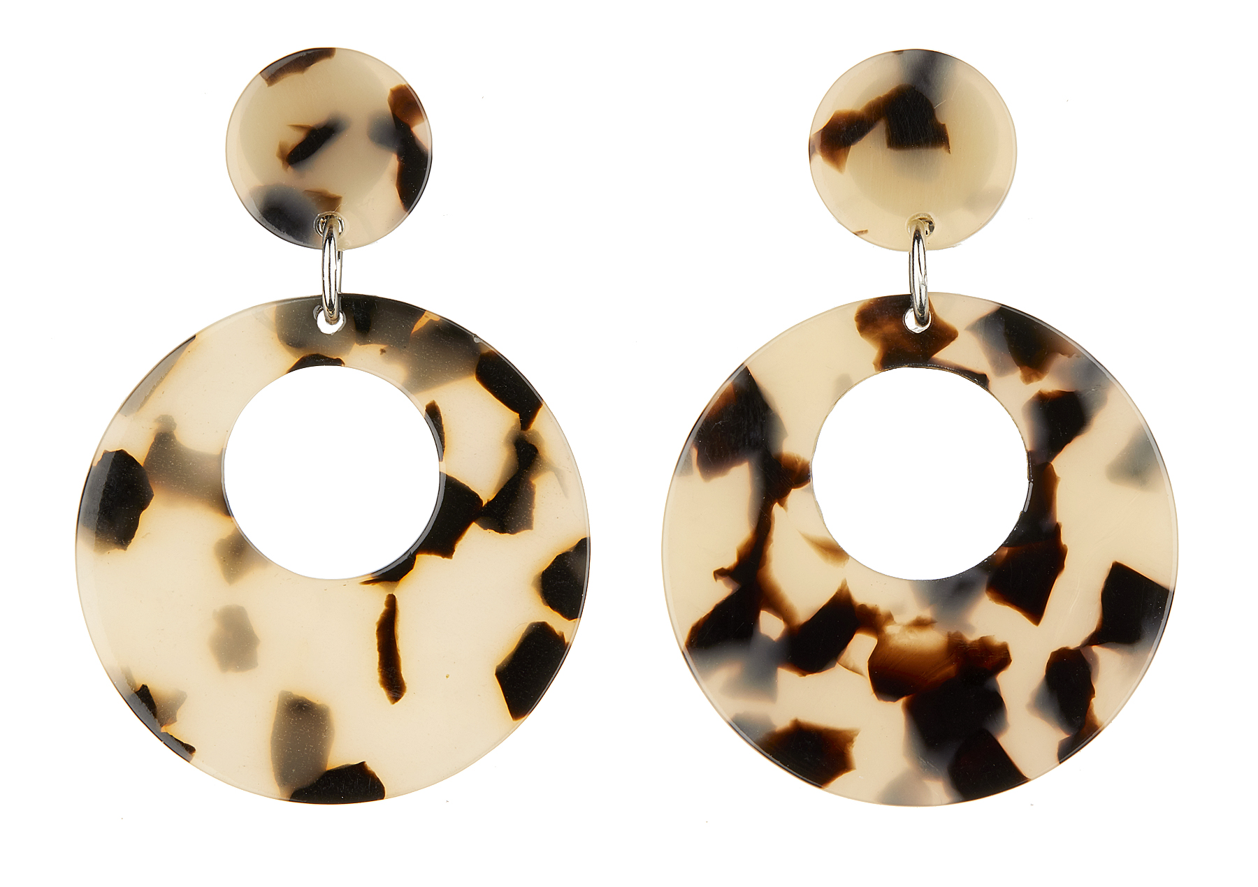Clip On Earrings - Elica - silver drop earring with brown tortoise shell acrylic