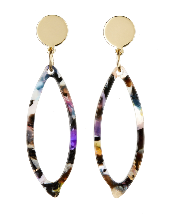Clip On Earrings - Ebbi M - gold drop earring with multi coloured acrylic