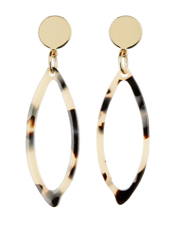 Clip On Earrings - Ebbi B - gold drop earring with brown tortoise shell acrylic