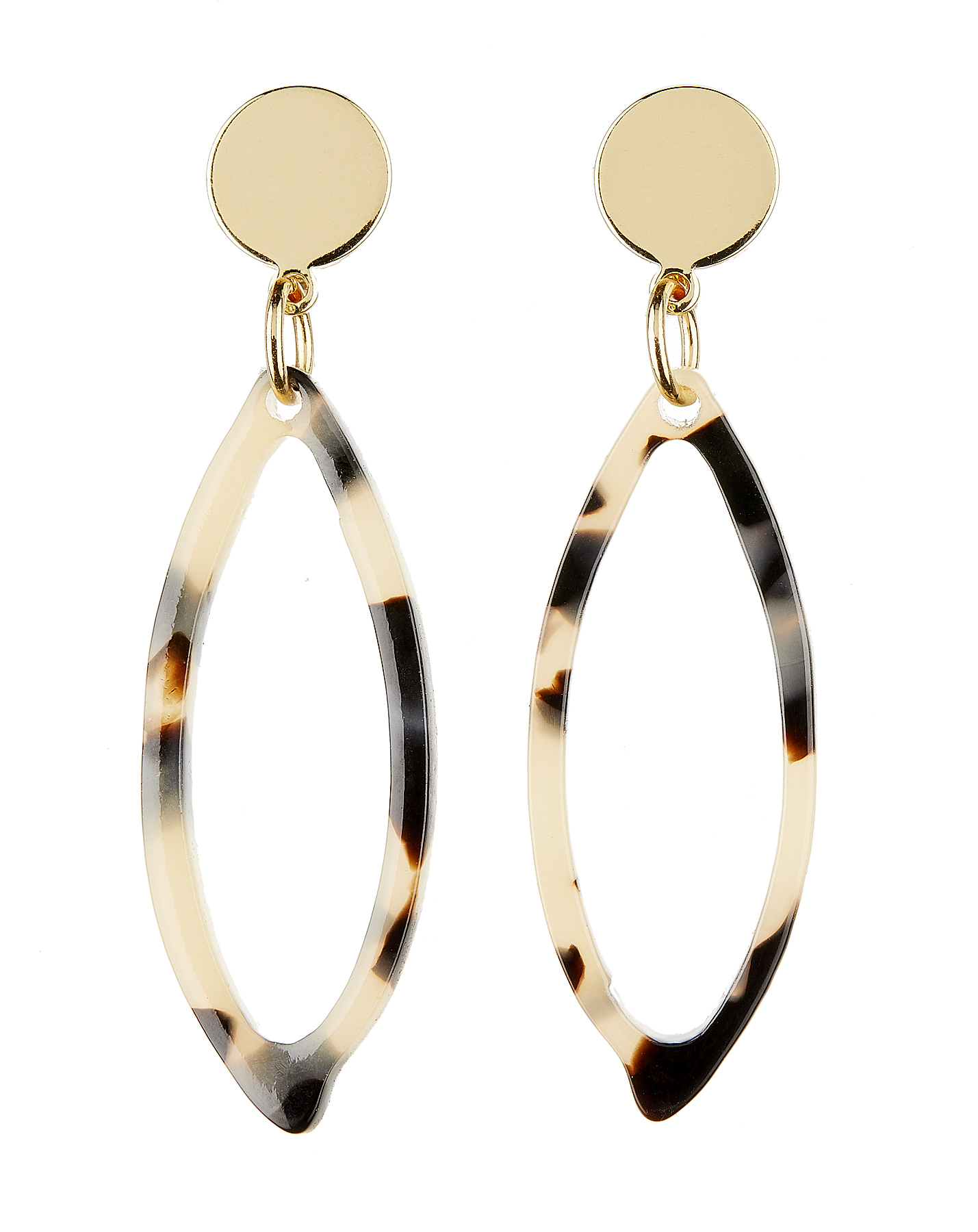 Clip On Earrings - Ebbi B - gold drop earring with brown tortoise shell acrylic