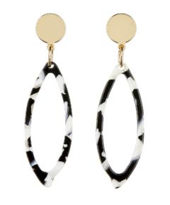 Clip On Earrings - Ebbi W - gold drop earring with black and white acrylic
