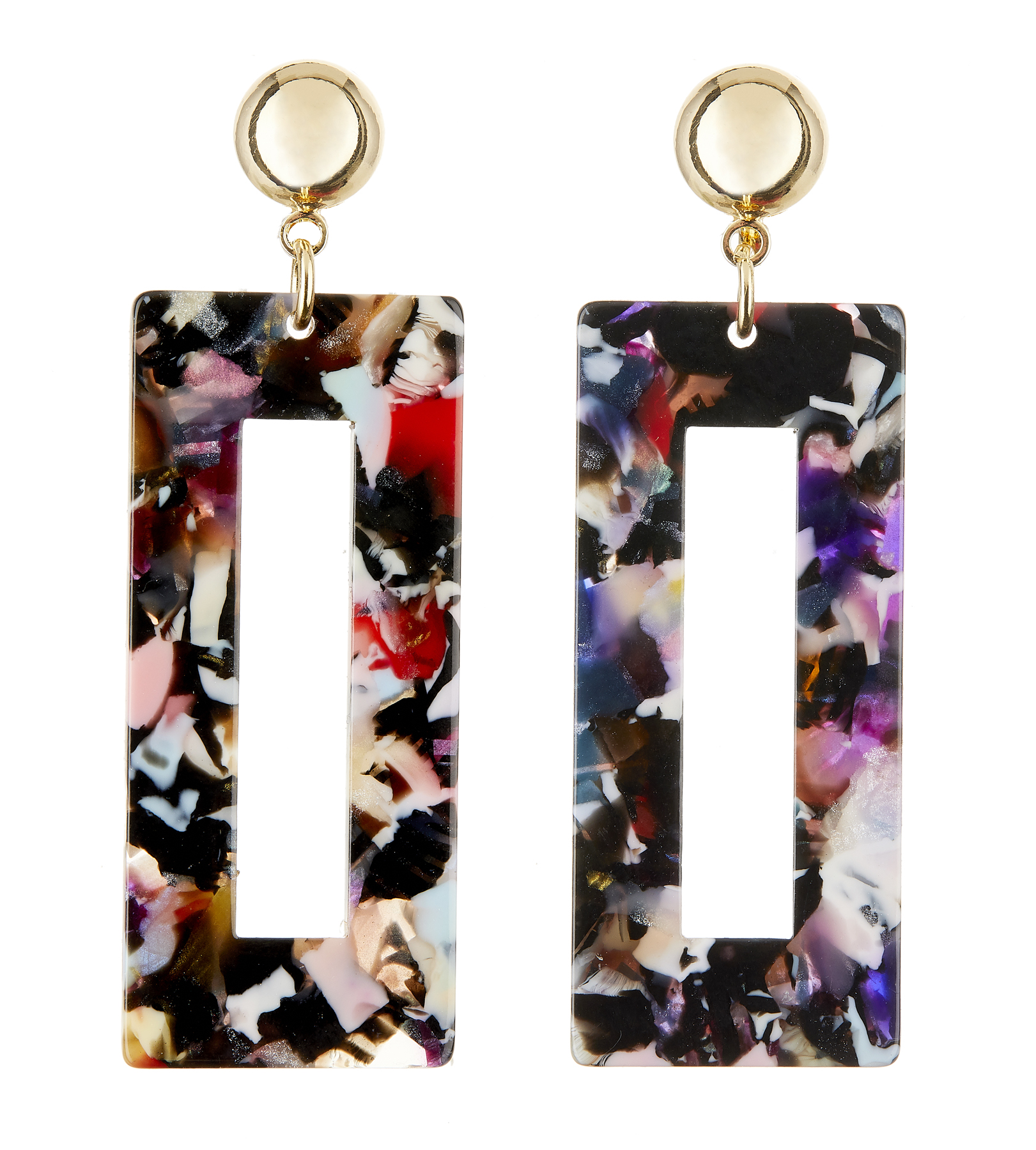 Clip On Earrings - Eada M - gold drop earring with multi coloured acrylic