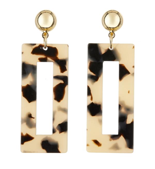 Clip On Earrings - Eada B - gold drop earring with brown tortoise shell acrylic