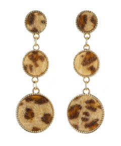Clip On Earrings - Erla B - gold dangle earring with brown faux animal fur fabric