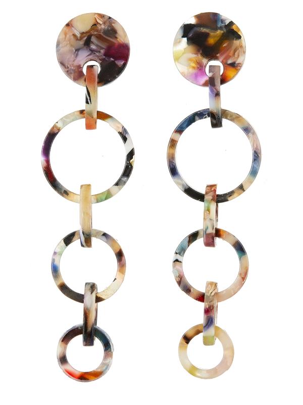 Clip On Earrings - Elon M - silver dangle earring with multi coloured acrylic