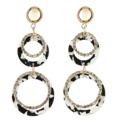 Clip On Earrings - Edusa - gold dangle earring with black and white acrylic and crystal rings