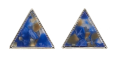 Clip On Earrings - Enid BL - silver triangle stud earring inset with blue acrylic