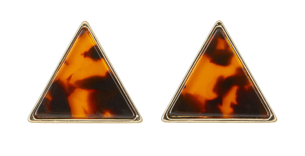 Clip On Earrings - Enid - gold triangle stud earring inset with brown tortoise shell acrylic