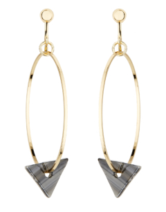 Clip On Hoop Earrings - Elda B - gold hoops with a black acrylic triangle