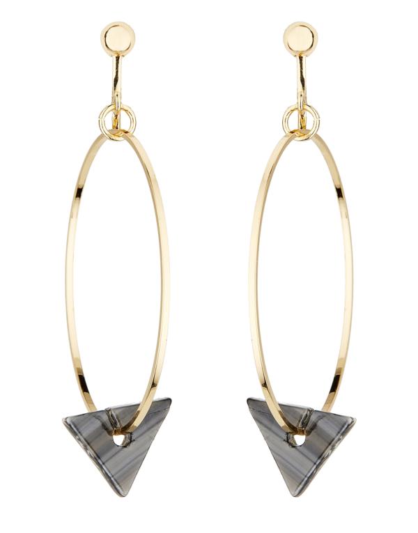 Clip On Hoop Earrings - Elda B - gold hoops with a black acrylic triangle