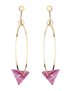 Clip On Hoop Earrings - Elda P - gold hoops with a pink acrylic triangle