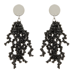 Clip On Earrings - Roch B - silver drop earring with black crystal strands