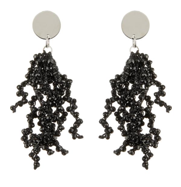 Clip On Earrings - Roch B - silver drop earring with black crystal strands