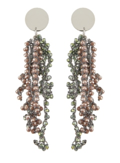 Clip On Earrings - Roch G - silver drop earring with grey crystal strands