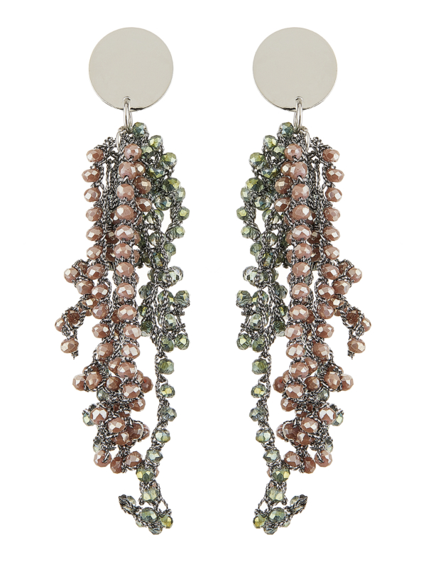 Clip On Earrings - Roch G - silver drop earring with grey crystal strands