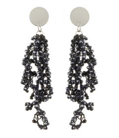 Clip On Earrings - Roch N - silver drop earring with navy blue crystal strands