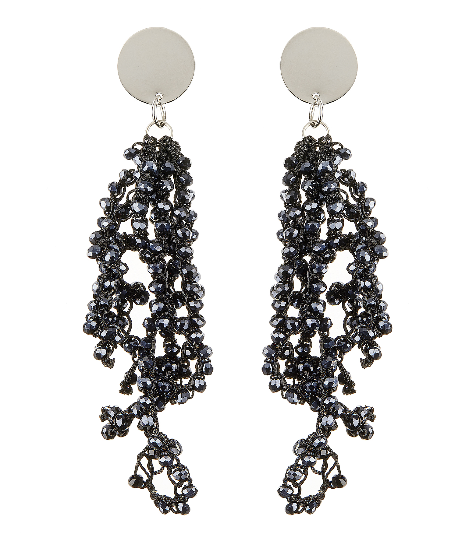 Clip On Earrings - Roch N - silver drop earring with navy blue crystal strands
