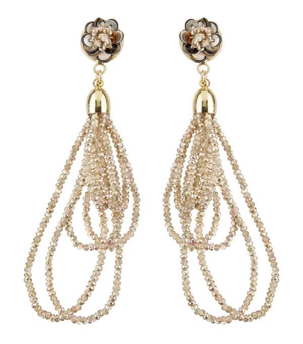 Clip On Earrings - Roya B - gold drop earring with loops of sparkling bronze glass beads