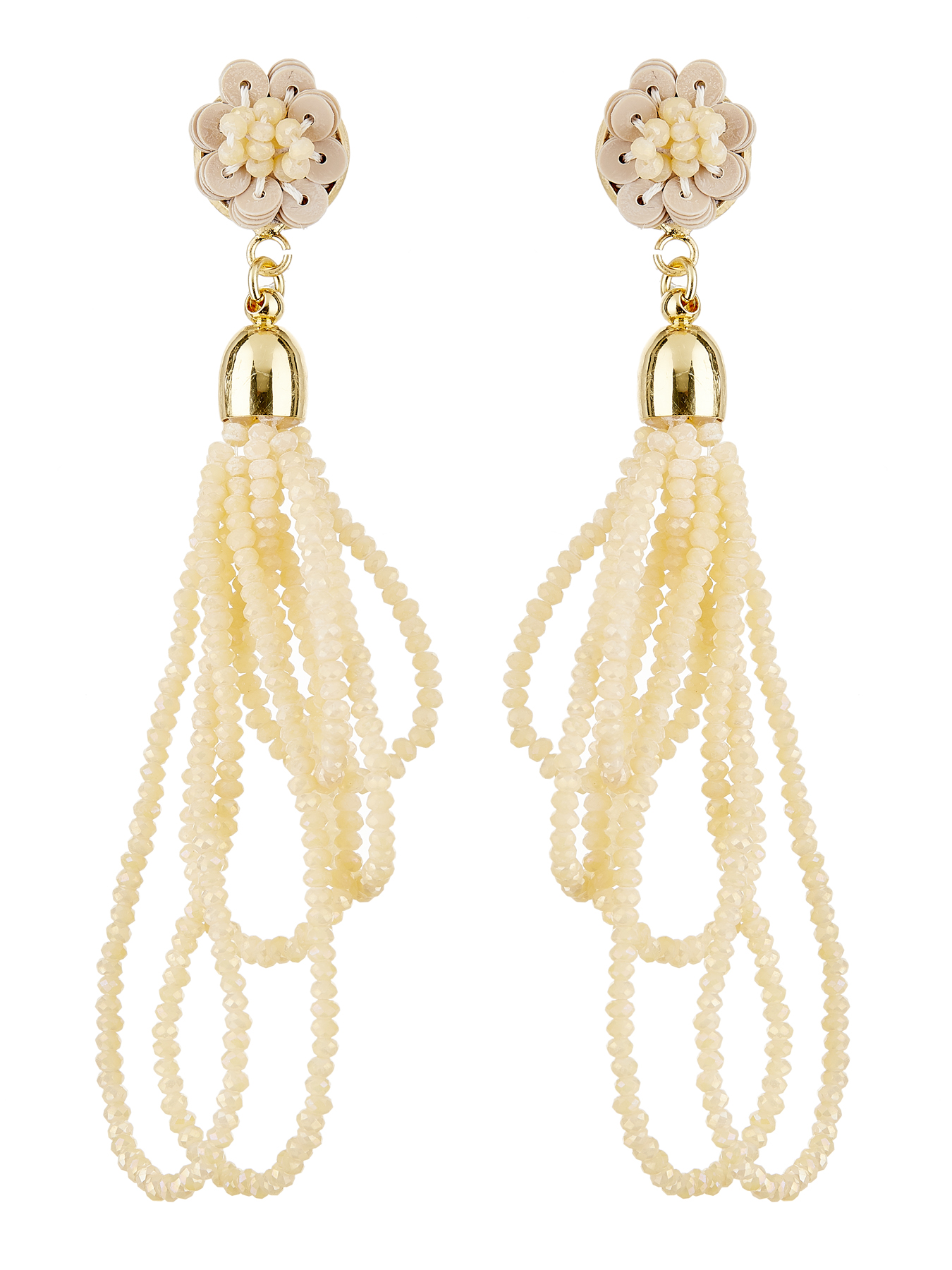 Clip On Earrings - Roya G - gold drop earring with loops of sparkling natural glass beads