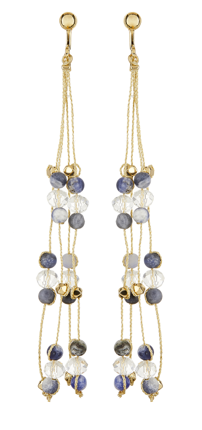 Clip On Earrings - Ryo N - gold drop earring with blue agate stone and glass beads