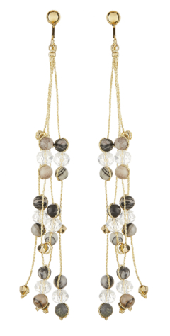 Clip On Earrings - Ryo B - gold drop earring with grey and black agate stone and glass beads