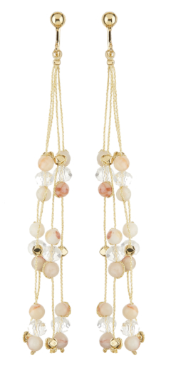Clip On Earrings - Ryo P - gold drop earring with pink agate stone and glass beads