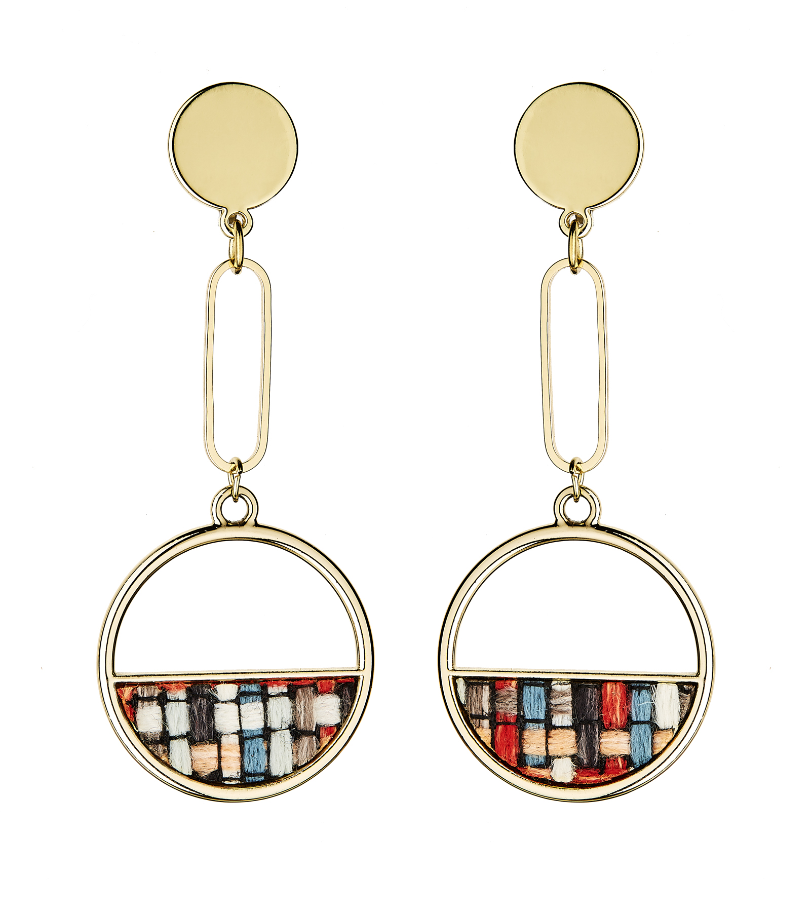 Clip On Earrings - Elvia B - gold dangle earring inset with checked fabric