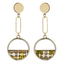 Clip On Earrings - Elvia G - gold dangle earring inset with checked fabric