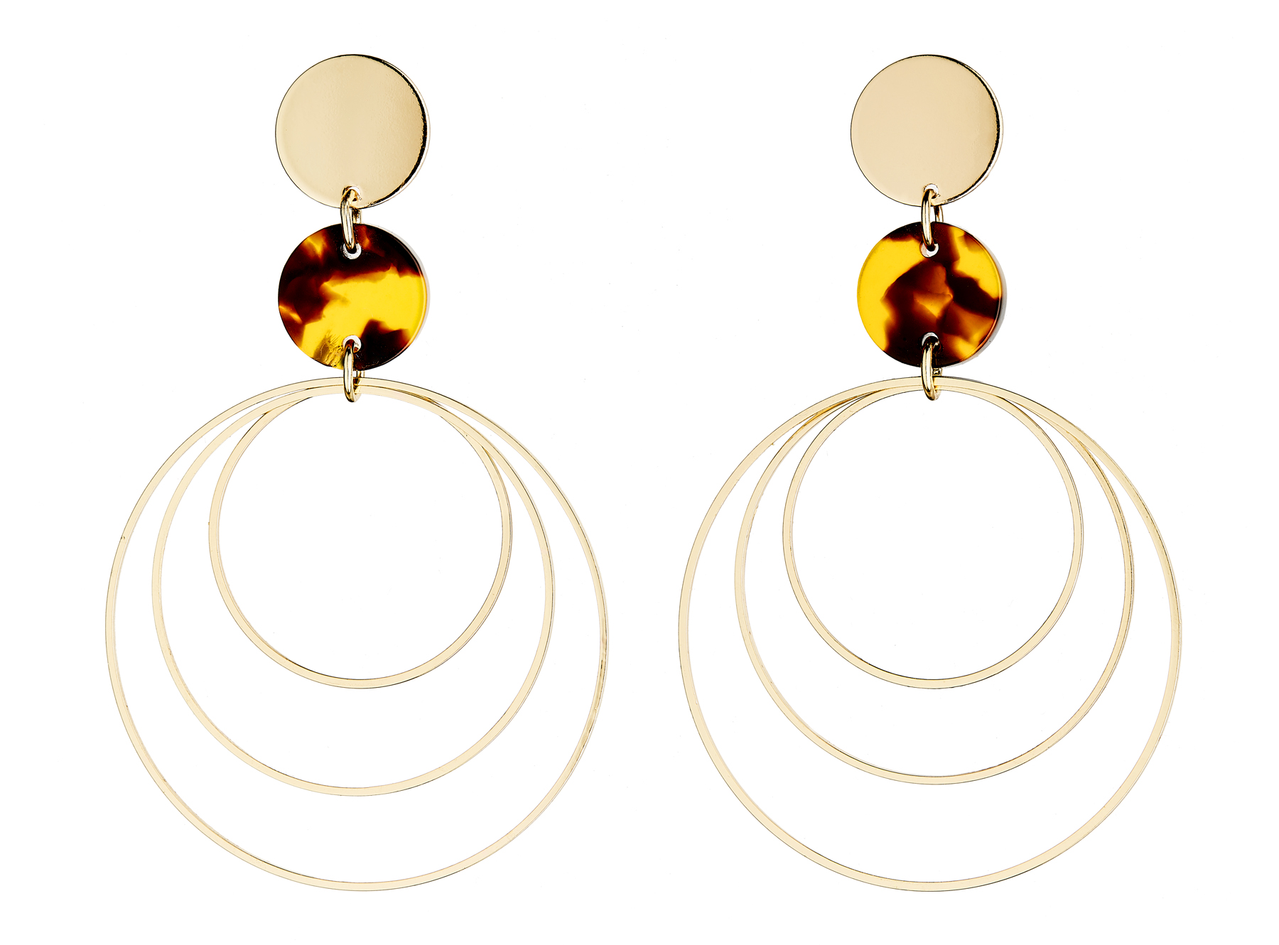 Clip On Hoop Earrings - Eme - gold earring with three hoops and brown tortoise shell acrylic