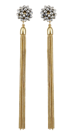 Clip On Earrings - Ruhi G - gold dangle earring with grey crystals and gold tassels