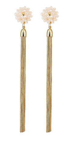 Clip On Earrings - Ruhi P - gold dangle earring with pink crystals and gold tassels